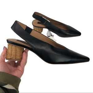 Uterque Heeled Black Leather Mules With Straw 41